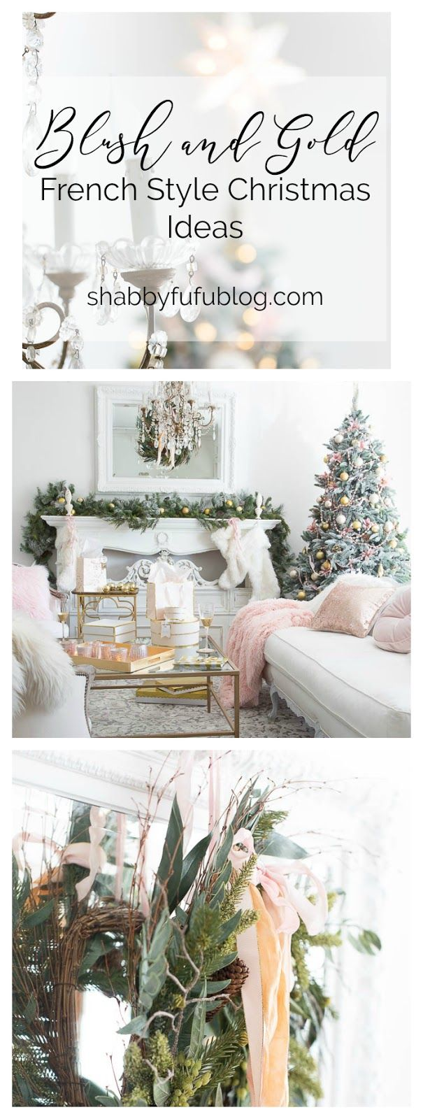 Christmas Home Tour Holiday Housewalk - Blush and Gold  #blushpink #ChristmasDecor #christmasdecorating