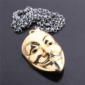 V for Vendetta Exaggerated Hacker Mask Necklaces anime jewelry anime keyring anime pendant anime necklace