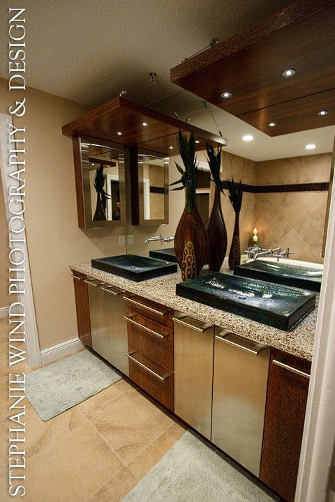 This Bathroom Used Alehouse Amber With Thick Solid Glass Sinks From Kohler