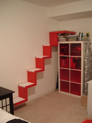 Stairway to cat heavenPets Beds, Cat Walks, Catstairs, Cat Stairs, Pets Furniture, Wall Shelves, Ikea Hackers, Pets Projects, Cat Heavens
