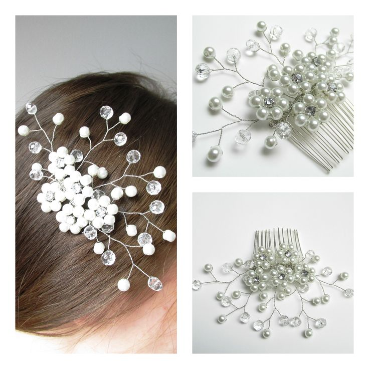 Hair comb with pearls, crystals Pieptene par cu perle si cristale Can be ordered here: https://www.facebook.com/handmadebutic