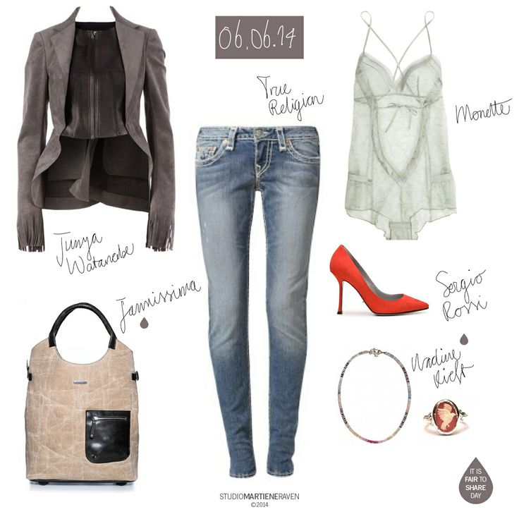 Secret Rendez Vous Out-of-the-office reply | 06.06.14 #outfit #fashion #red jeans #TrueReligion #Berlin bodysuit #CafedeFlore #Monette #Paris trolley #green #eco #leather #Jannissima ring & necklace #eco #fairtrade #NadineKieft #Goldfabrik pump #SergioRossi #DesignerShoeHouse jacket #JunyaWatanabe #Farfetch