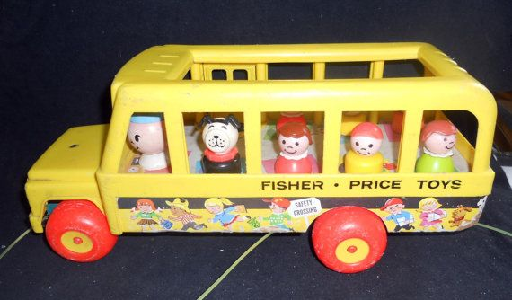"Fisher Price Vintage Little People ""School Bus With 7 Little People"" In nice condition."