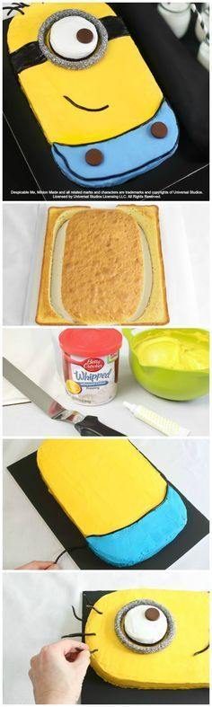 This easier-than-it-looks Minion cake has great ratings and has been shared more than 10,000 times on Facebook and Pinterest! If you have a Minion fan in your life, click through for the step-by-step instructions. Tip: Look for silver sugar in the baking section of your local craft store. If you can't find it, feel free to use chocolate sprinkles instead.