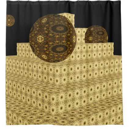 Kaleidoscope 3D Steps and Globes Brown Floral Shower Curtain  $67.00  by ShadesandJava  - cyo customize personalize unique diy idea
