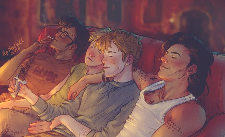 "didyousaymaraudersormurder: "" saintdrarry: "" upthehillart: "" Marauders edition of this "" I'm fucked up. Sirius and James… Mercy please "" Lol Sirius arm is around Remus so causally I'm dead """