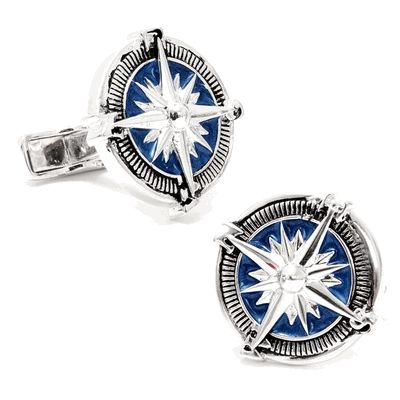 Sterling Blue Nautical Compass Cufflinks by Cufflinksman