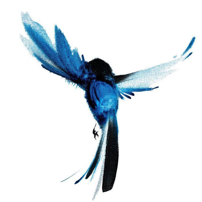 Digital Illustration With Oil Painted Flying Blue Bird For Etsy In 2021 Bluebird Tattoo Bird Prints Blue Bird