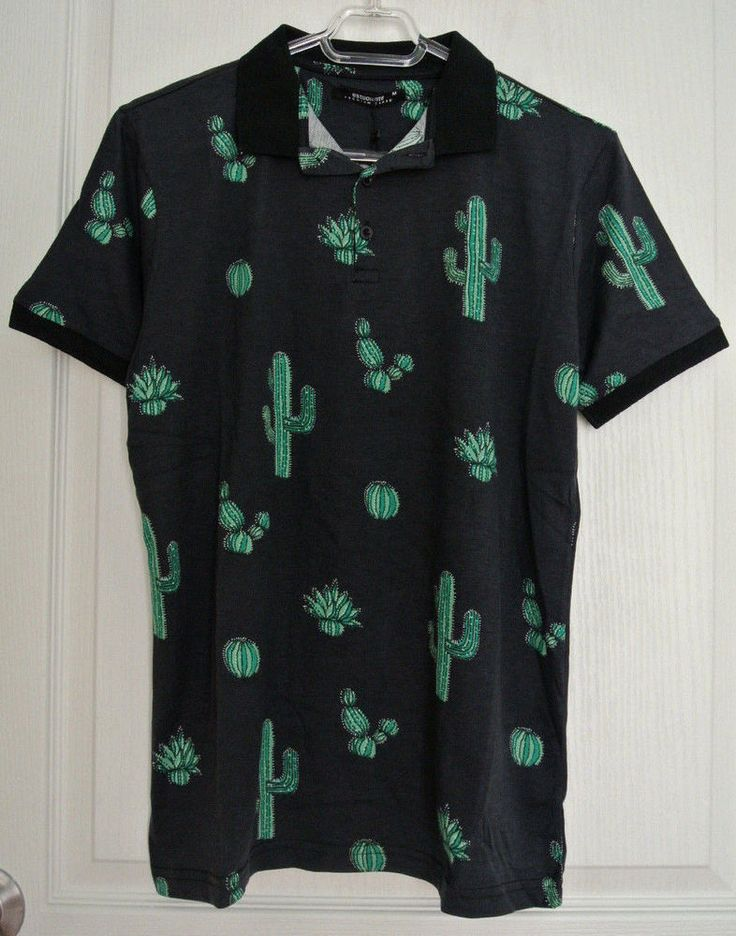 BNWT Polo Shirt Cactus Drawing Illustration Print 100% Cotton S - M - L- XL- 2XL #Unbranded #PoloRugby