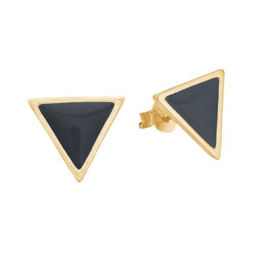 Stud, triangle, dark grey, gold plated sterling silver