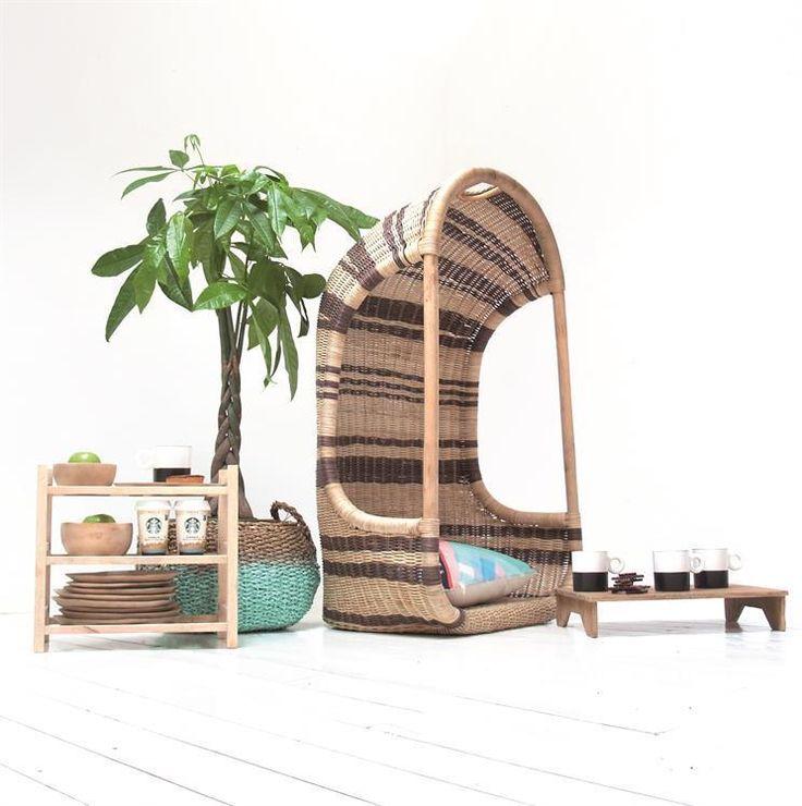 Hangstoel - Donkerbruin - Riet - HK Living kopen? - Woonwebwinkel LiL.nl