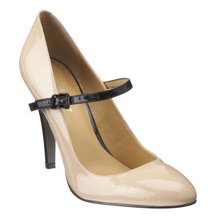 Nine West Nude/Black Patent Leather Pump....need these!