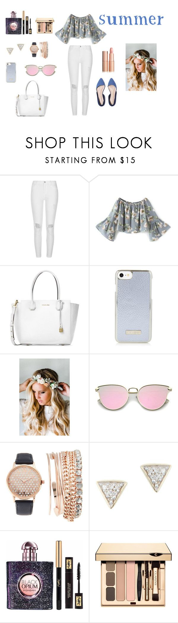 """""""summer"""" by natalyholly on Polyvore featuring River Island, Michael Kors, Emily Rose Flower Crowns, Jessica Carlyle, Adina Reyter and Yves Saint Laurent"""