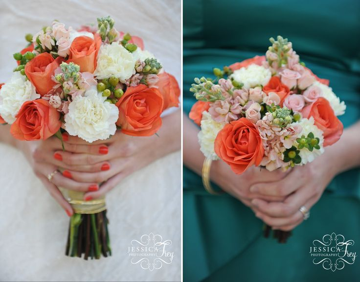 Coral Colored Flower Arrangements coral-teal-vint...