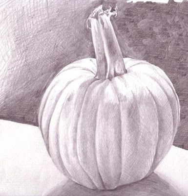 Value drawing of pumpkin. Artist unknown.