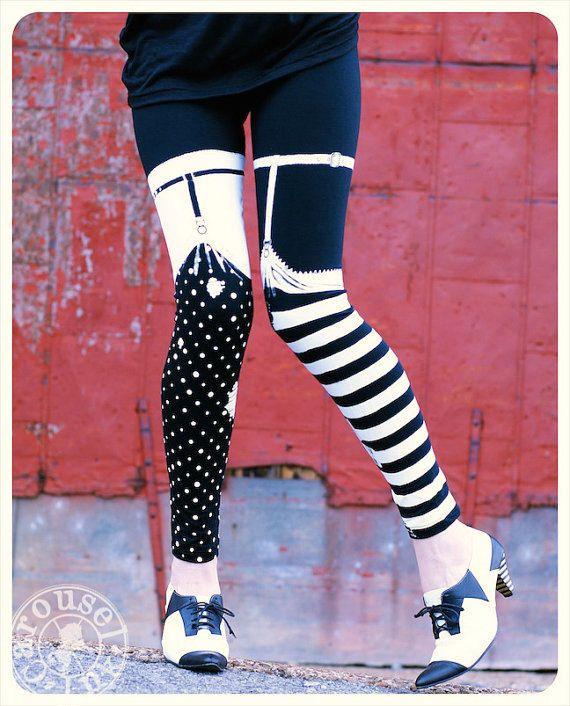 ZWART wit gestreept Leggings - Pippi KOUSENBAND Legging - middellange - polka dot beenmode panty