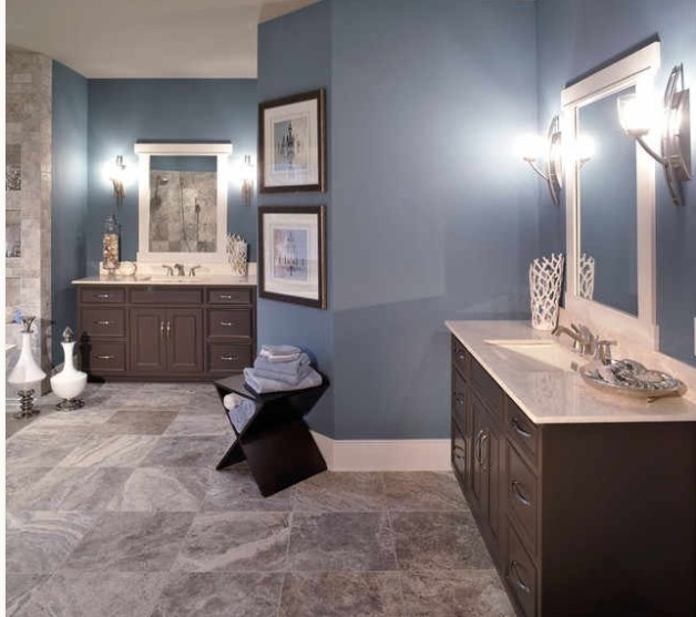 Blue tan bathroom i like the different color tan tile for Blue and gray bathroom accessories
