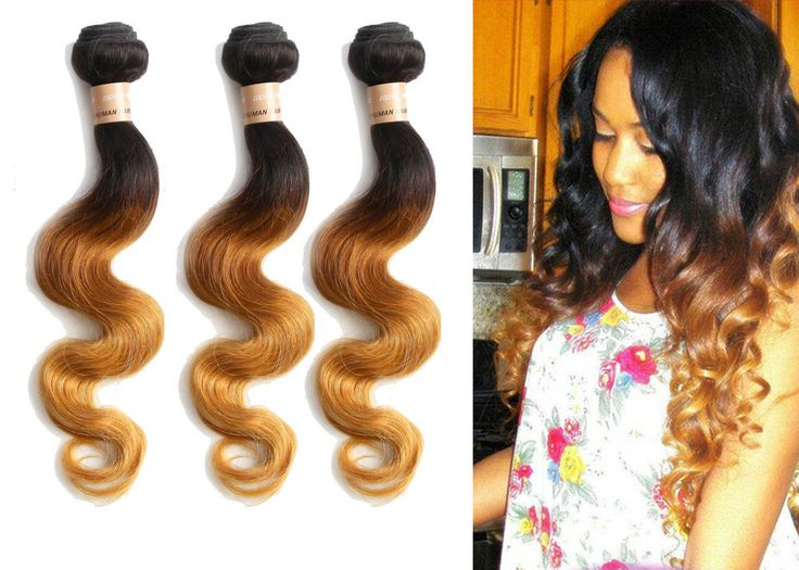3Bundles Brazilian Human Hair Extension Body Wave Ombre 3TONE 1B/33/27 US LOCAL #wigiss #HairExtension