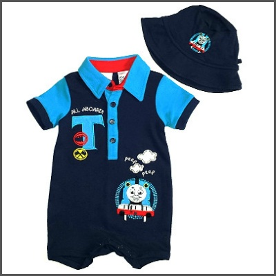 Peep Peep Thomas Romper & Hat. Super cute for your tiny little guy! This Thomas the tank engine romper with embroidery features a stud bottom for easy nappy changes and an adorable sun hat! So sweet!