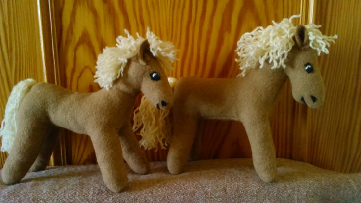 Viking child's toys. Primitive woolen horses . Handmade by Alina Wodzińska