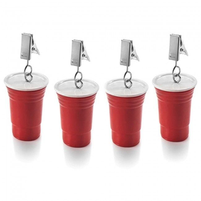 Stop your tablecloth from blowing away with this fun set of 'cup' shaped weights!