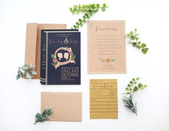 Library book wedding invitation set by yesdearstudio on Etsy