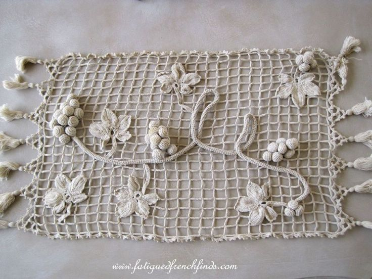 Vintage French Hand Crochet Table Runner Grape And Vine Leaf Detail  Www.fatiguedfrenchfinds.com