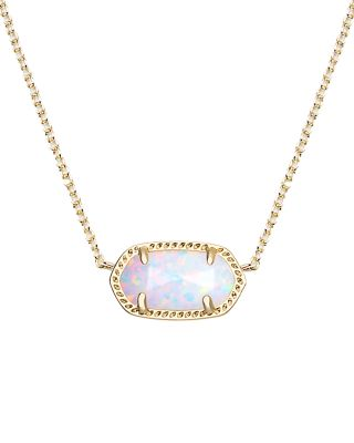 A delicate white kyocera opal stone shimmers when paired with a gold metal frame in the Elisa Pendant Necklace from Kendra Scott.