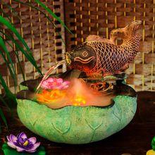 Peixe a cada ano para decoração de casa feng shui ornamentos que vivem lótus feng shui roda umidificador ornamental fonte de água bonsai(China (Mainland))