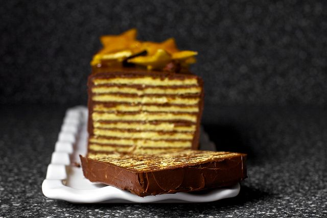 Apparently dobos torte is less difficult to make than I'd imagined. Now all I need is an excuse to bake one. http://smittenkitchen.com/2011/06/dobos-torte/#