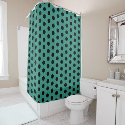 Teal and Black Polka Dot Shower Curtain - home gifts ideas decor special unique custom individual customized individualized
