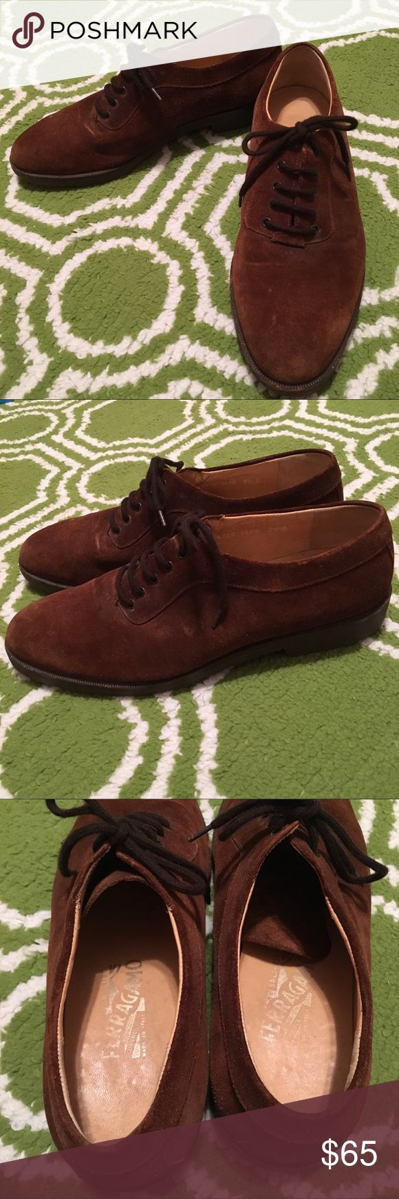 Salvatore Ferragamo 8.5D Brown Suede Oxfords Good used condition, some wear (see pictures), vibram sole. Salvatore Ferragamo Shoes Oxfords & Derbys