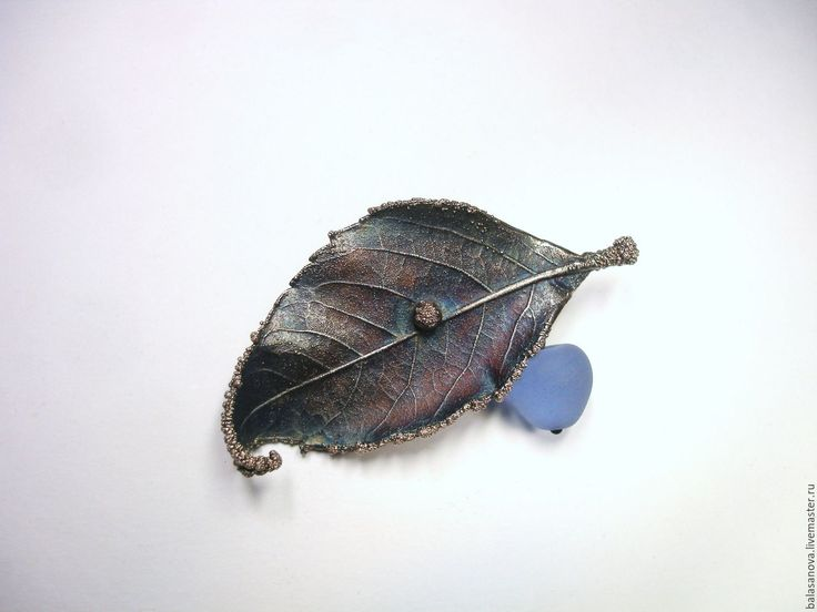 """Купить Брошь """"Осенний сон"""", медь, серебрение, патина - гальванопластика, электроформинг, омеднение, стекло"""