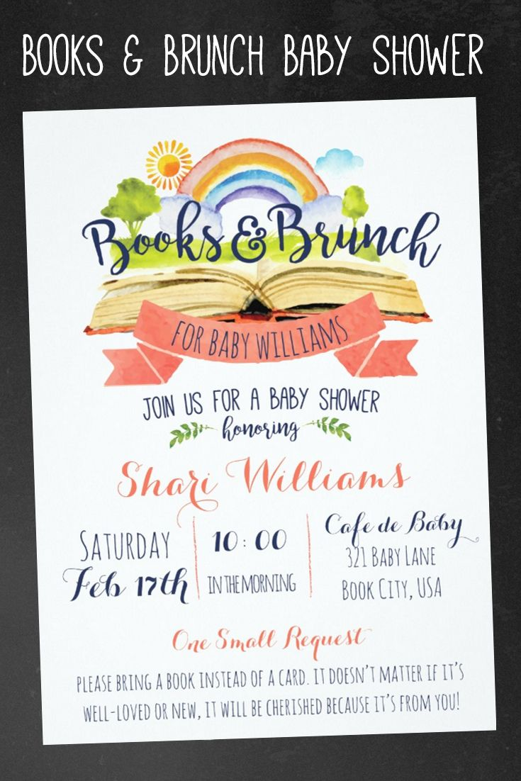 Books and Brunch Baby Shower Invitations | Book Themed baby shower invite