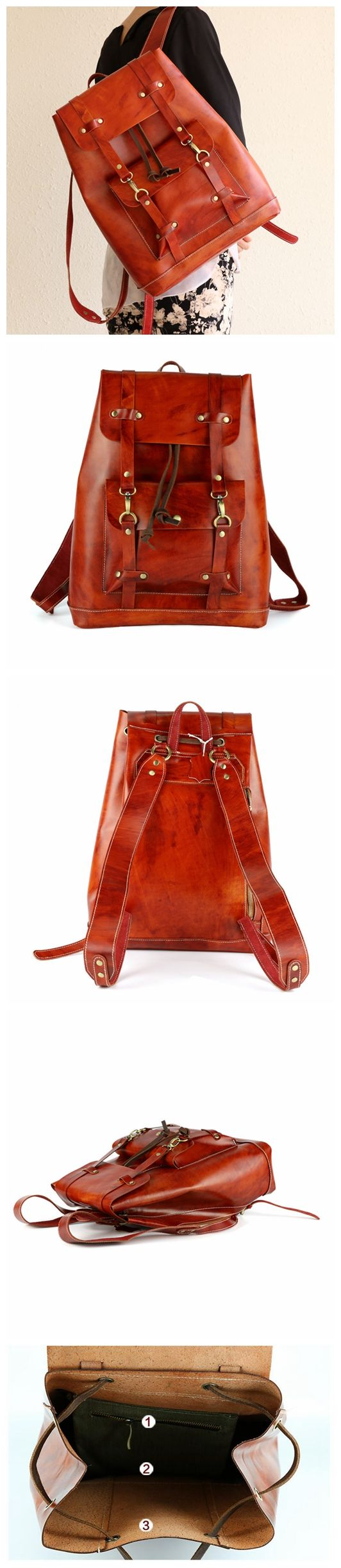 Fashion Women Leather Backpack Travel Bookbag High Quality ...
