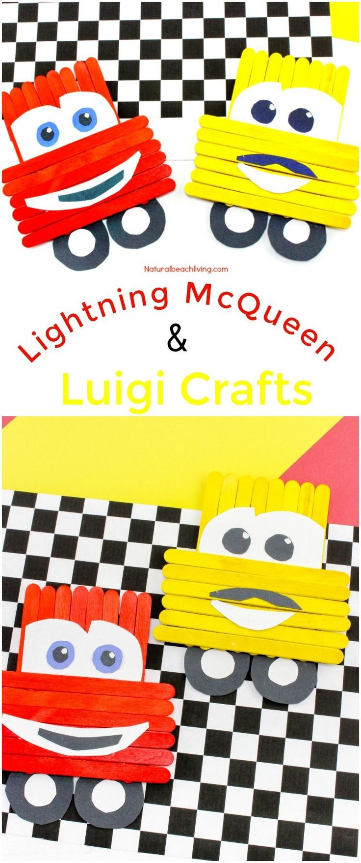 Disney Pixar Cars Popsicle Stick Crafts for kids, Great Craft idea for kids, Lightning McQueen Crafts, Luigi, Cars Party Idea, A Perfect Disney Fan Activity