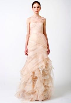 vera wang peach wedding gown
