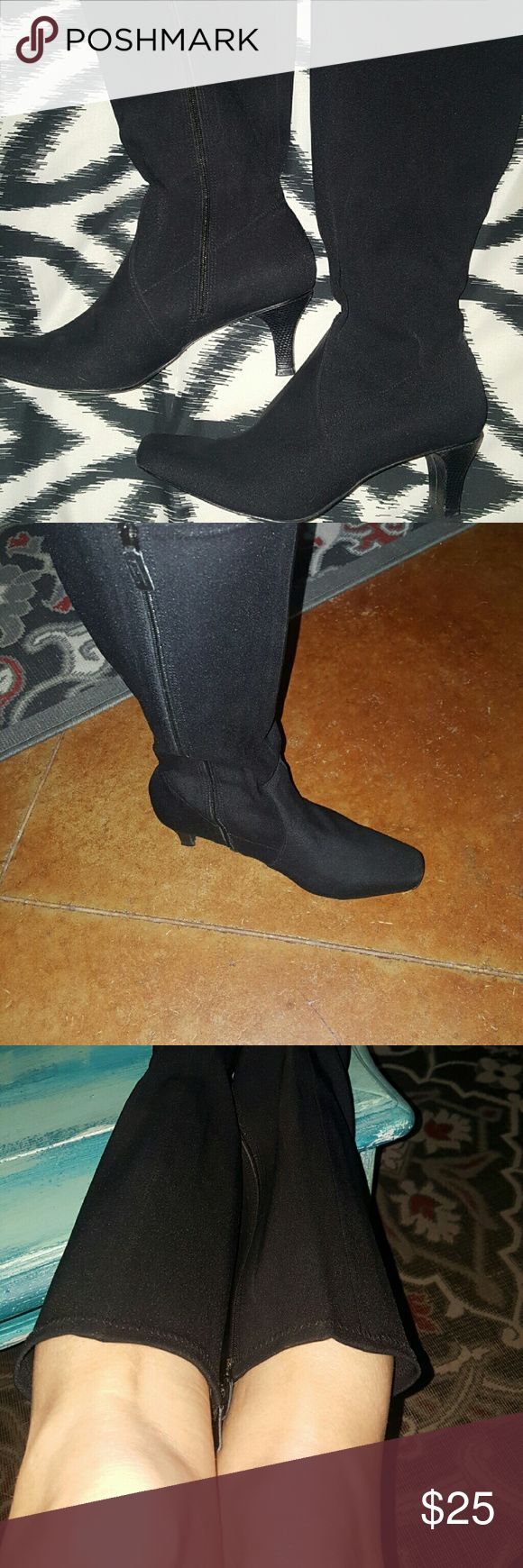 Ladies black boots Perfect black boots for winter. Below the knee. Small heel. I love these but they are to big around my legs. Keep in mind I am petite, so it's hard to find tall boots to fit. Women's size 5 from Talbots. I did wear once. No damage. Pet and smoke free. Talbots Shoes Heeled Boots