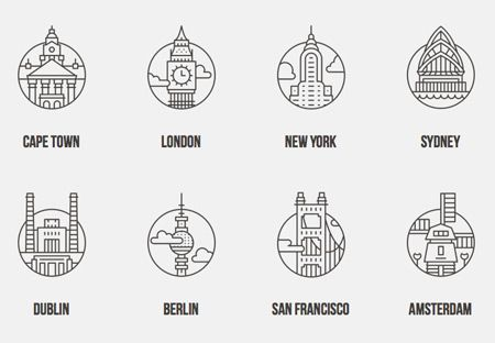 "CITY ICONS :: Commissioned by Offscreen Magazine for their fifth issue feature ""A Web Worker's Field Guide"", this collection of icons depicts a well known building or ideogram from 14 cities around the world."