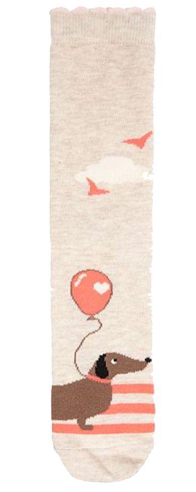 Damensocken mit Luftballon-Dackelmotiv