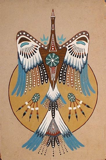The peyote bird, AKA snake bird and water turkey, is associated with the Native American Church and the ritual use of peyote there by the church members.