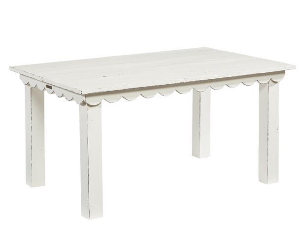 Little ones will love to gather at their own Kid's Haven Table from the Farmhouse collection, with its whimsical scalloped trim and sturdy square legs. And, parents will love its vintage charm and easy going Jo's White paint finish.