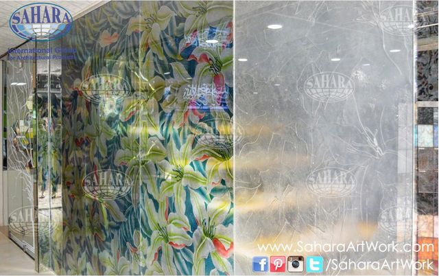 From our Head Office, colored and clear fused glass partition with floral design!