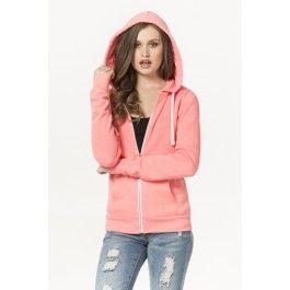 Neon coral zip hoodie