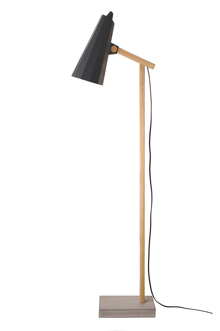 Filly Short Neck Floor Lamp, Black. Aluminium shade. Stem made of solid oak and concrete base.