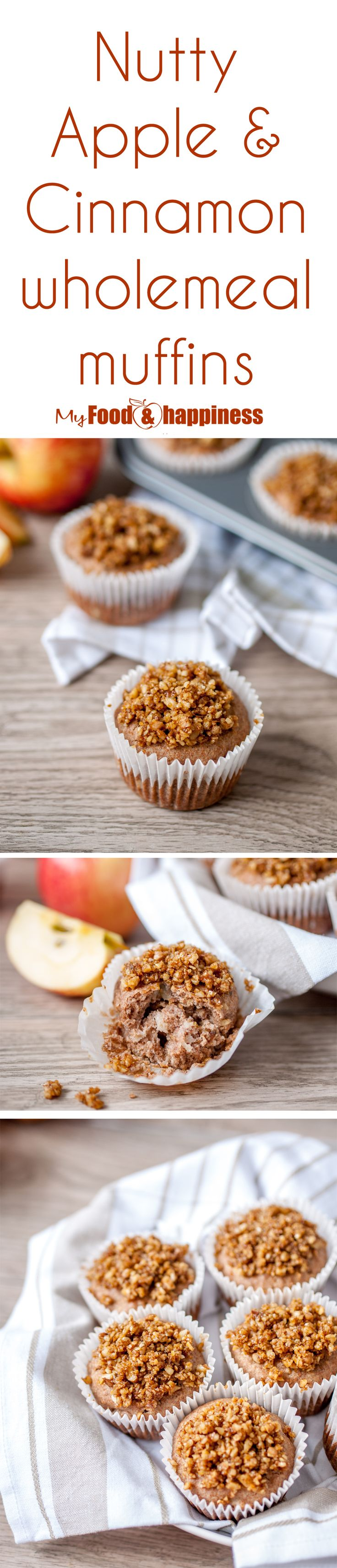 Nutty Apple & Cinnamon wholemeal muffins that have no added sugar and yet they are still sweet and super delicious. Muffins full of naturally sweet ingredients! This is a great way to give your family a treat instead of store-bought muffins that are loaded with sugar, icing and other unhealthy ingredients.
