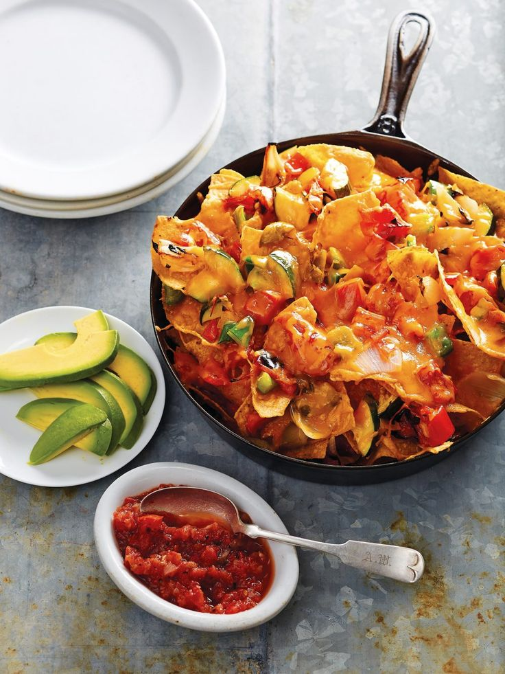 Grilled Vegetable and Cheddar Nachos