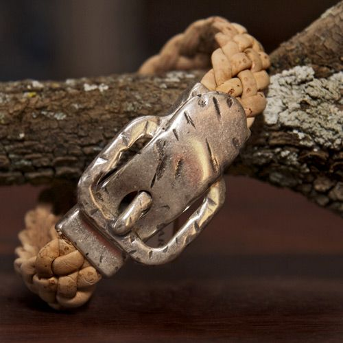 Natural plaited cork Bracelet with buckle - Silver Ribbon Gifts