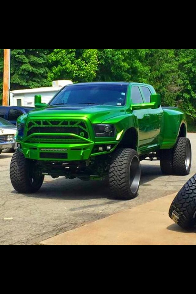 That is one lean green awesome Dodge Cummins! It really stands out in it's own…