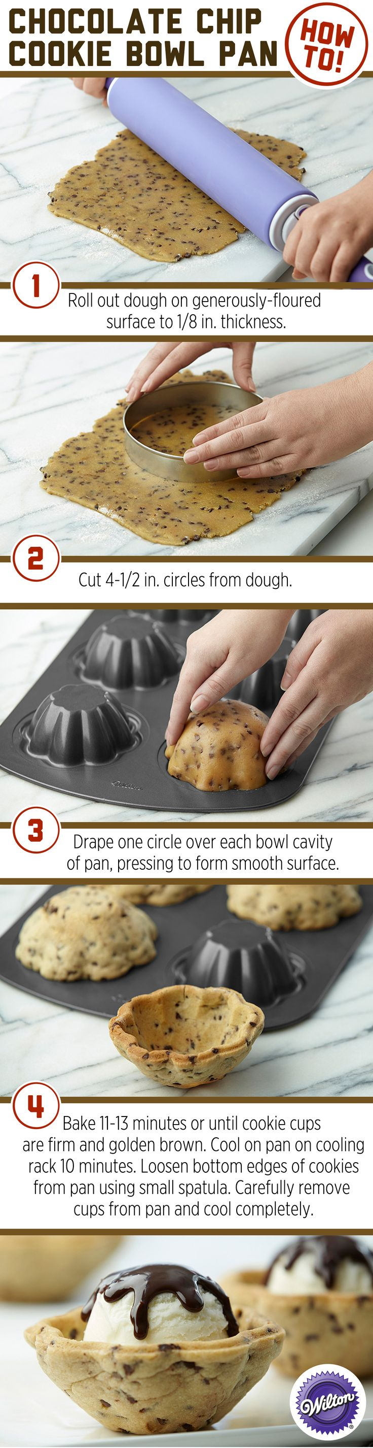 Wilton® ice cream cookie bowl pan - fun way to serve ice cream sundaes—this tool is ideal for baking cookies in the shape of cups. They make the perfect containers for a DIY ice cream bar. They work perfectly for mini cakes, too!